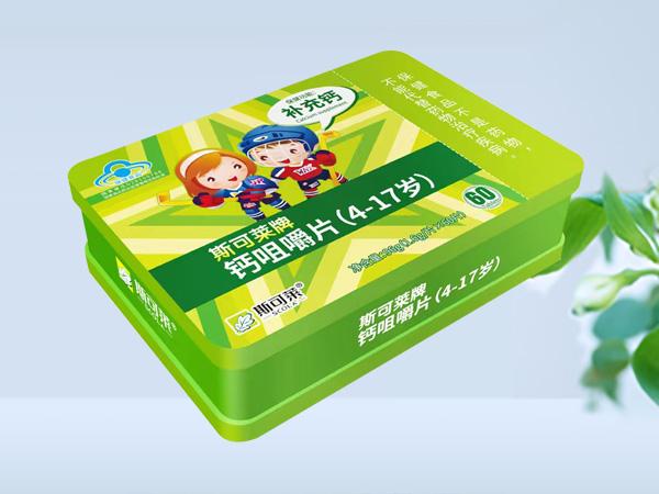 钙咀嚼片(4-17岁)铁盒